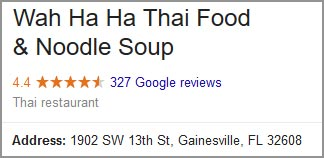 Reviews on Google+ for Wah Ha Ha Thai Food in Gainesville, Fl Area